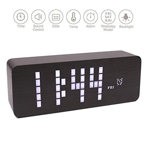 Wooden Digital Clock, Warmhoming Wooden Dot Matrix LED Digital Alarm Clock with Sound Control