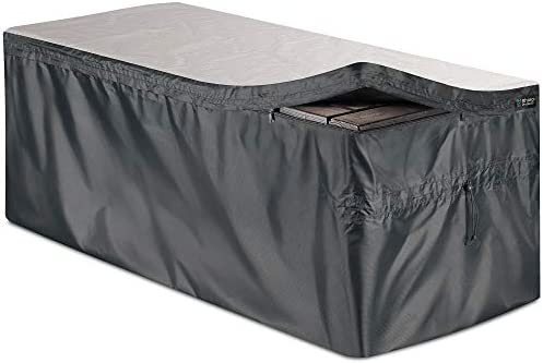 Bag Mate Deck Box Cover – L 62 W 30 H 28 – Waterproof Quick Open Cover Top with Zipper – Best Fit for Keter Deck Boxes Westwood, Rockwood, Brightwood, Sumatra and Lifetime 130gal – PVC-Coated