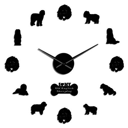 MMLUCK Old English Sheepdog Dog Breed Contemporary Self Adhesive 3D DIY Wall Clock Quartz Clock Acrylic Mirror Sticker Wall Decor Clock(Black) 37inch