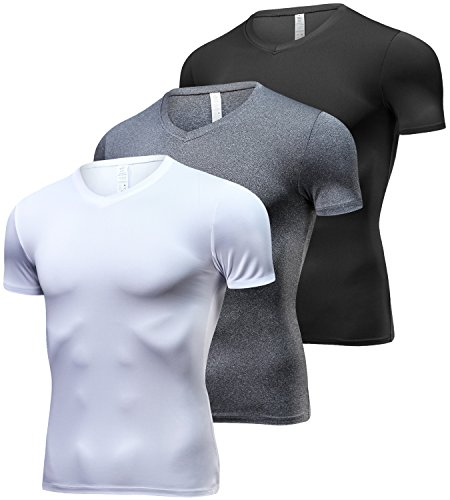 Lavento Men's Cool Dry Compression Shirts Short-Sleeve Workout T-Shirts