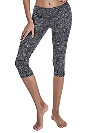 YOGARURU - Yoga Capris Pants - Running Capri Pants With Hidden Pocket (XS-2XL) , Navy , XS