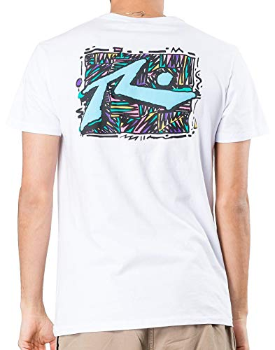 Rusty Mens Zig Zag Short Sleeve T-Shirt Large White/Blue/Pink (T-shirt Short Sleeve Rusty)