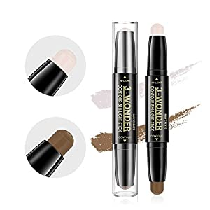 Scala Multifunctional Concealer Contour Highlight Stick 3D Face Double-ended 2 Colors Perfect Concealing Blemish Makeup Face Bright Pen (102(Lotus root pink+dark coffee))