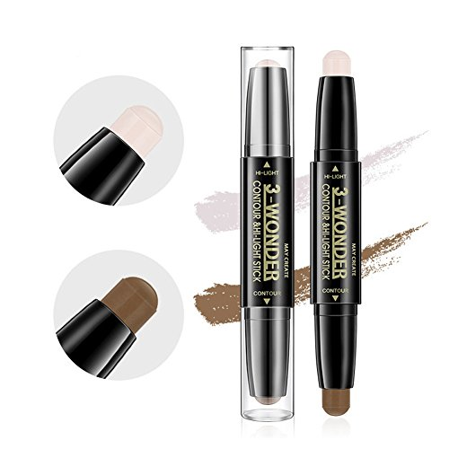 - Scala 2Pcs Professional Comestic Double-ended 2 Colors Highlight Contour Stick Pencil 3D Face Concealer Pen Perfect Concealing Blemish Makeup Face Foundation (2Pcs)