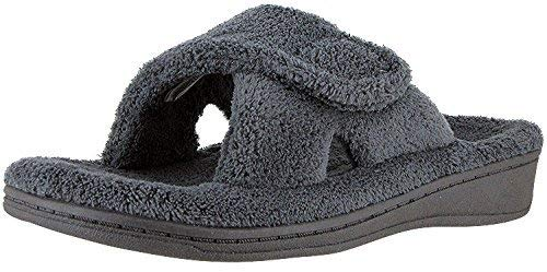 Vionic Women's Indulge Relax Slipper - Ladies Comfortable Cozy Adjustable House Slippers with Concealed Orthotic Arch Support Grey 7 Medium US