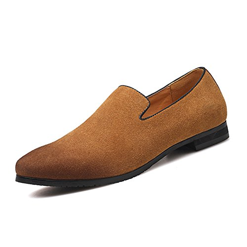 Men's Slip-on Loafers Dress Shoes PU Leather Noble Comfortable Pure Color Fashion Driving Boat ()