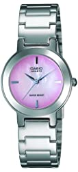 Casio Women's LTP1191A-4C Silver-Tone Pink Dial Analog Quartz Watch