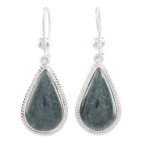 NOVICA Jade and .925 Sterling Silver Dangle Earrings, Dark Green Sacred Quetzal