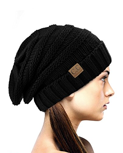 ed Baggy Slouchy Thick Winter Beanie Hat, Black (Knit Slouch Hat)
