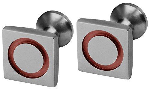 Ti2 Titanium Mens Square Circle Inlay Cufflinks - Coffee Brown (Titanium Cufflinks Brown)