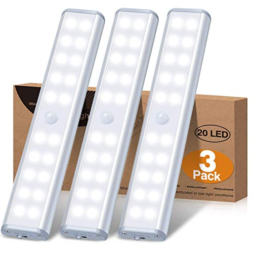 Under Cabinet Lighting Battery Operated Motion Sensor Closet Lights, Wireless Under Counter Lights with 20 LEDs for…