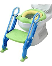 Mangohood Potty Training Toilet Seat with Step Stool Ladder for Boys and Girls Baby Toddler Kid Children Toilet Training Seat Chair with Handles Padded Seat Non-Slip Wide Step