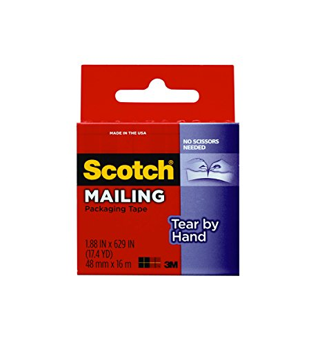 Scotch Tear By Hand Mailing Packaging Tape, 1.88 x 629 Inch, Clear (3841)