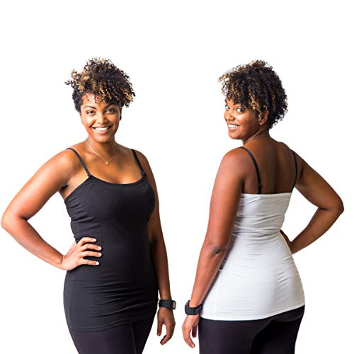 Undercover Mama Black and White Nursing Tank Set for Breastfeeding, M