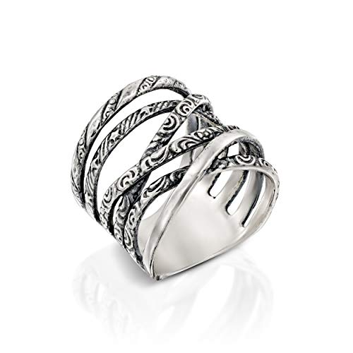 Paz Creations ♥925 Sterling Silver Multi-Texture Highway Ring (5), Made in Israel ()