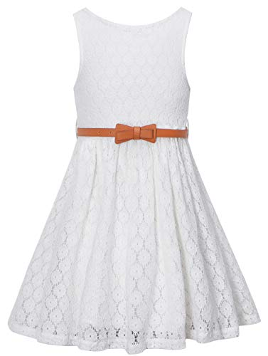 White Dresses For Girls Size 12 (Girls Summer Lace Party Dress with Belt, Flower Girl Sleeveless Lace Dress for Little Girls, White, 11T-12T (11-12 Years)=Tag)