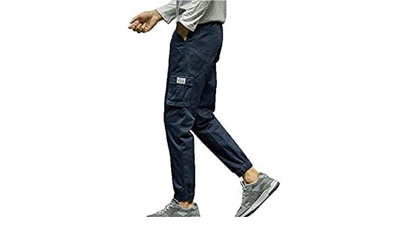 Amazon.com: Pants,Mens KpopBaby Fashion Pure Color Pocket Looser Casual Nine Points Small Feet Pant Hollow Out ontrol Capris Pants: Clothing