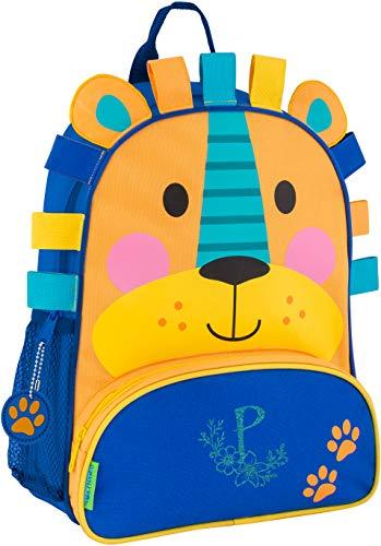 (Monogrammed Me Sidekick Backpack, Blue Lion, with Glitter Flower Monogram P)