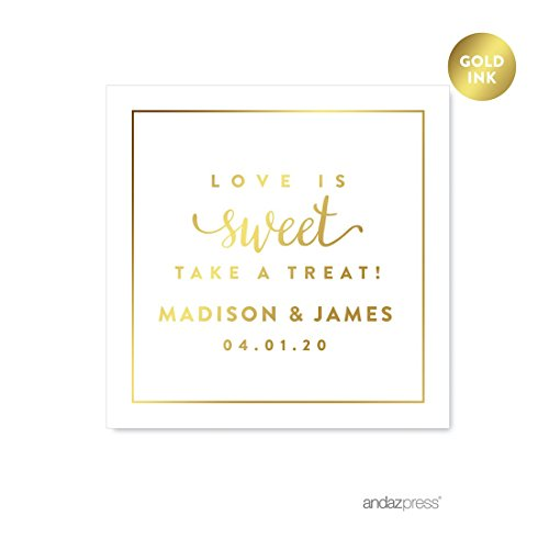 Andaz Press Personalized Square Wedding Favor Gift Labels Stickers, Metallic Gold Ink, Love is Sweet Take a Treat, 40-Pack, Custom Made Any Name