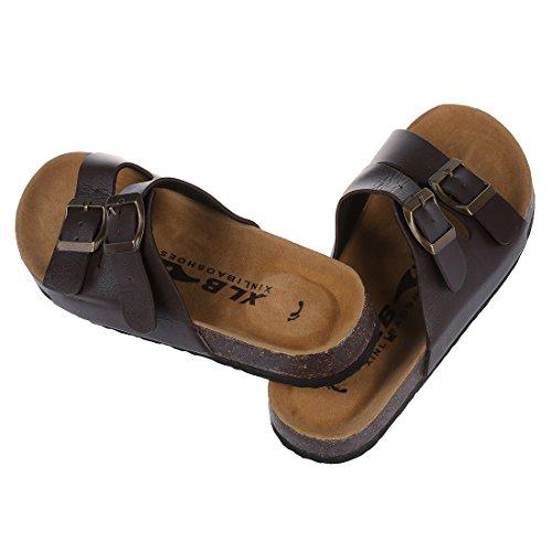 TOOGOO(R) Neue Korken flache Schuhe Sandalen Sommer Unisex laessig Pantoffeln Schuhe Groesse 10 Braun