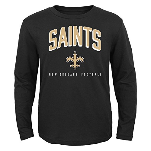 NFL by Outerstuff NFL New Orleans Saints Toddler Arch Standard Long Sleeve Tee Black, (Toddler Nfl Football Jersey)