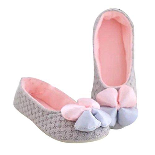 Amiley Mujeres Casual Flower Bow Slip-on Zapatillas De Casa Pisos Antideslizantes Zapatos Gris