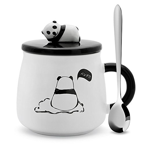 iLOVEPandas Hand Painted Ceramic Panda Cup Large Capacity Office Cup Cute Coffee Mugs with Spoon and Lid (Style 4)