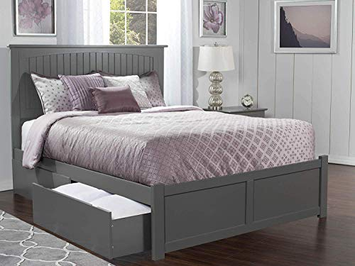 Atlantic Furniture AR8252119 Nantucket Platform Bed with 2 Urban Bed Drawers, King, Grey ()