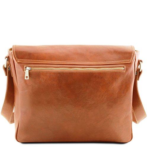 Tuscany Leather TL Messenger Laptop Umhängetasche aus Leder mit zwei Fächer Schwarz Honig
