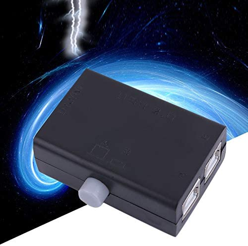 Black ABS Universal Mini USB Sharing Share Switch Box Hub 2 Ports PC Computer Scanner Printer Manual Great