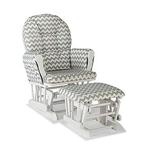 Premium Nursery Glider and Ottoman Chair Rocker Storkcraft Set in Grey and White