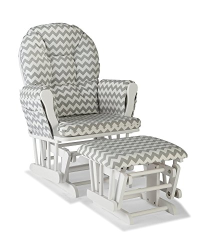 (Premium Nursery Glider and Ottoman Chair Rocker Storkcraft Set in Grey and White)