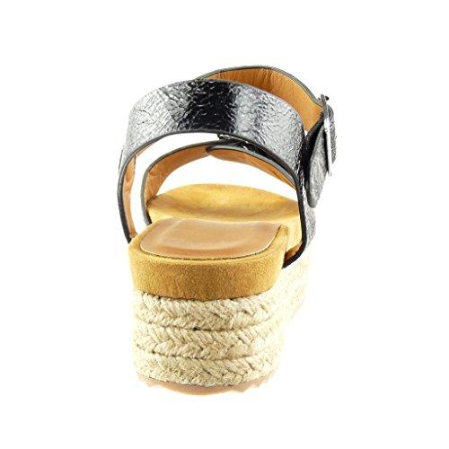 Angkorly Damen Schuhe Sandalen Espadrilles - Plateauschuhe - Glänzende - String Tanga - Schleife Keilabsatz High Heel 4.5 cm Schwarz
