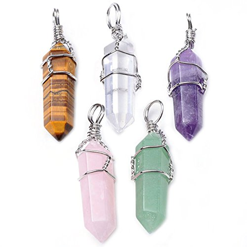 (Top Plaza 5pcs Natural Amethyst+ Rose Quartz + Tiger Eye Stone + Green Aventurine + Rock Crystal Quartz Healing Point Chakra Pendants for Necklace Jewelry Making, 5 Colors Healing Stones Pendants)