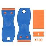 Ansbell 2 Pack Plastic Razor Scrapers, Mini Razor Scraper Tool with 100Pcs Refillable Plastic Scraper Blades Ideal for Scraping Labels,Auto Window Paint Sticker Remover Tool (Plastic Razors)