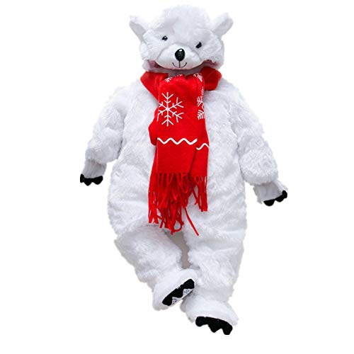Baby Flannel Hooded Romper Jumpsuit Outfits+Shoes+Scarf ,Infant Baby Winter Thicken Snowsuit Flannel Polar bear Hooded Fleece Romper Jumpsuit Cosplay Outerwear Suit Cosplay (Appropriate height80CM)
