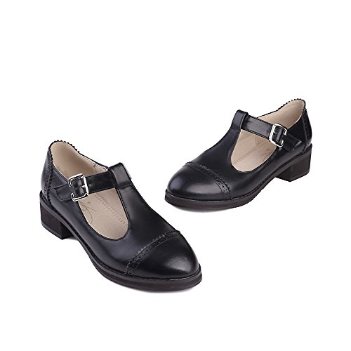 Pumps VogueZone009 Round Women's Toe Closed Solid Black Pu Shoes Buckle Low Heels 11wUrxq