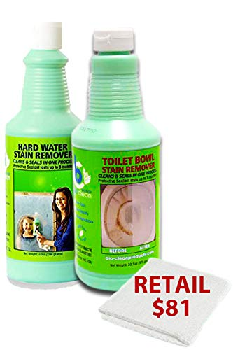 Water Spots Chrome - Bio Clean: Hard Water Spot Remover: Buy 1 Cleaner (2OozMedium) get 2nd Toile Bowl Free Plus 1 Free Magic Cloth. Cleaner Removes Tough Hard Water Stains Caused by Mineral deposits Acid rain & Alkali.
