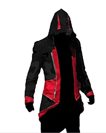 e6b63effa Assassin's Creed III Connor Kenway Coat Jacket Hoodie Cosplay Costume  (Black Red, Male-