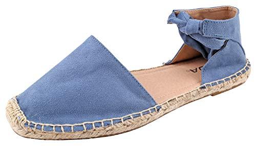 (SODA Women's Ankle Wrap Espadrille Flat Dusty Blue 7 M US)