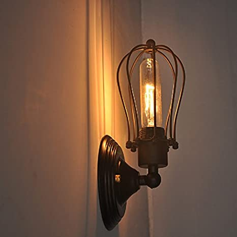 Jaula de alambre de pared lámpara de pared lámpara de techo Vintage Industrial Loft de Metal negro Bar cocina Mini lámpara de pared lámpara de techo,
