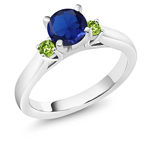 Green Natural Sapphire (1.24 Ct Round Blue Simulated Sapphire Green Peridot 925 Sterling Silver Ring (Size 9))
