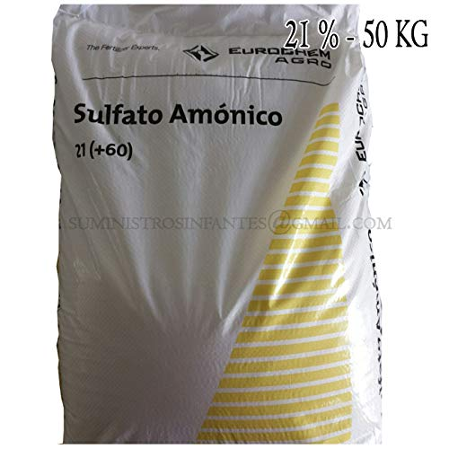 Suinga Sulfato AMONICO 21%, Saco de 50 Kg de abono. El azufre es un nutriente indispensable en Todos los Cultivos. Maxima Calidad