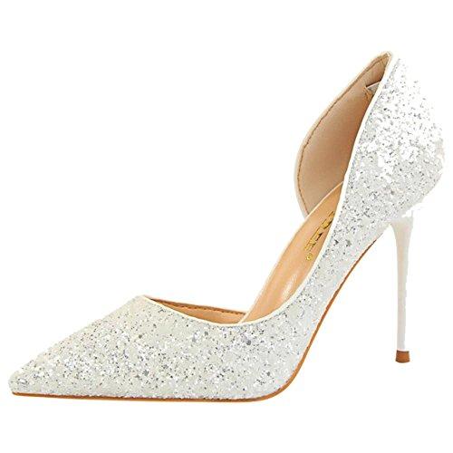 de RAZAMAZA Para Zapatos Tacon D'Orsay Mujer White Alto 8w7rwE