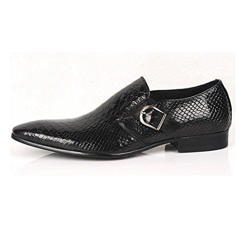 Santimon-mens Lederen Zakelijke Schoenen Zwart