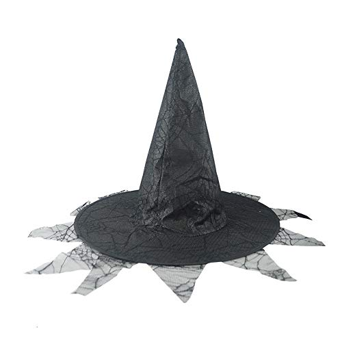 chenqiu Halloween Lace Witch Hats Costumes for Kids Children Boys Girls Halloween Props Set Double-Decker Adult Womens Witch Hat for Halloween Costume Accessory -