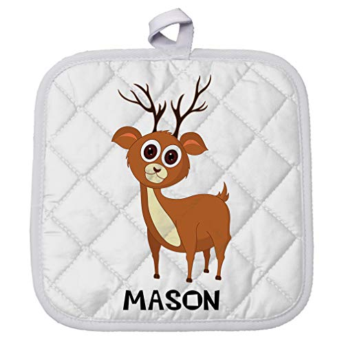 Personalized Custom Text Deer Brown Polyester Pot Holder Trivets