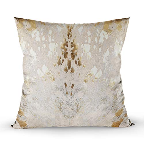 (EMMTEEY Home Decor Throw Pillowcase for Sofa Cushion Cover, Cowhide White Gold Metallic Acid wash Print Decorative Square Accent Zippered and Double Sided Printing Pillow Case Covers 18X18Inch)