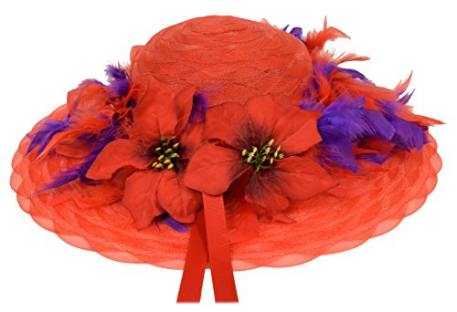 Black Friday / Cyber Monday Deal Red Hat Ladies Society Christmas Dream Hat with Poinsettias (Hat Red Dresses Society)