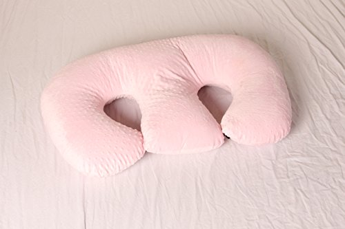THE TWIN Z PILLOW - PINK The only 6 in 1 Twin Pillow Breastfeeding, Bottlefeeding, Tummy Time & Support! A MUST HAVE FOR TWINS! - CUDDLE PINK DOTS by Twin Z PIllow (Image #2)